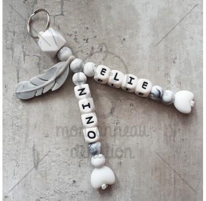 Porte - clés double marbre coeur