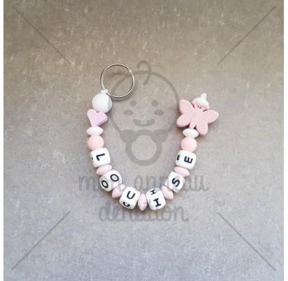 Porte - clés papillon vieux rose